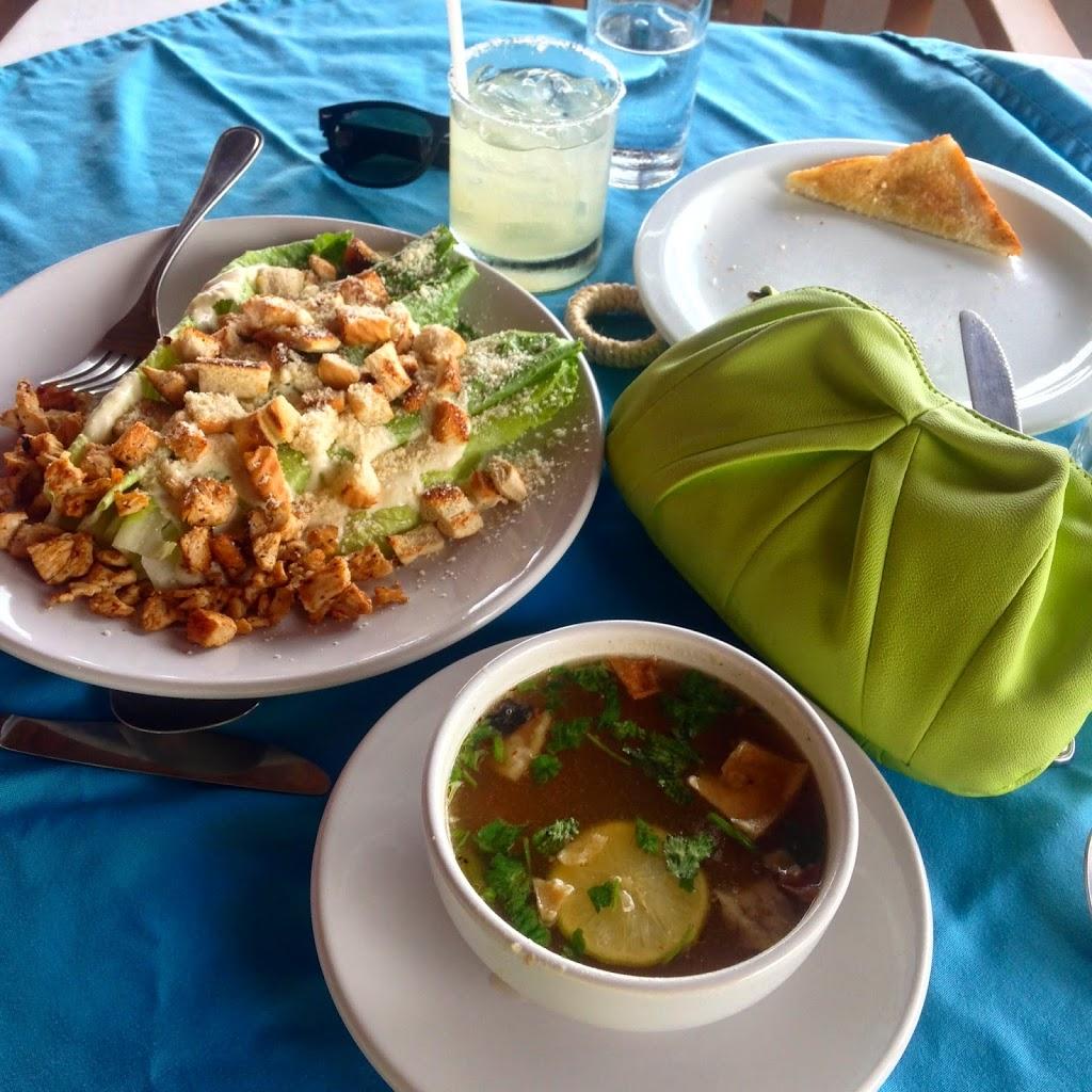 Mexican Chicken Lime Soup and salad at La Vista Azul Restaurant in Las Villas Akumal - Akumal, Mexico