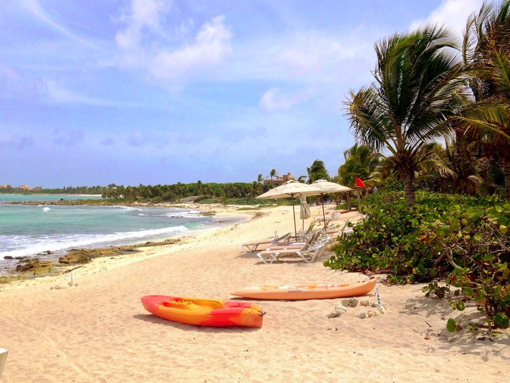 Gorgeous Beach and Turquoise Waters of Caribbean Sea in Tulum, Mexico
