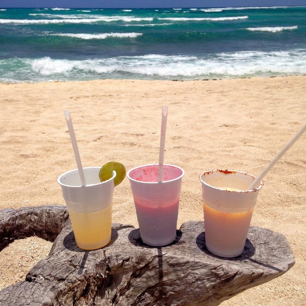 3 Margaritas on the beach in Akumal, Tulum, Mexico
