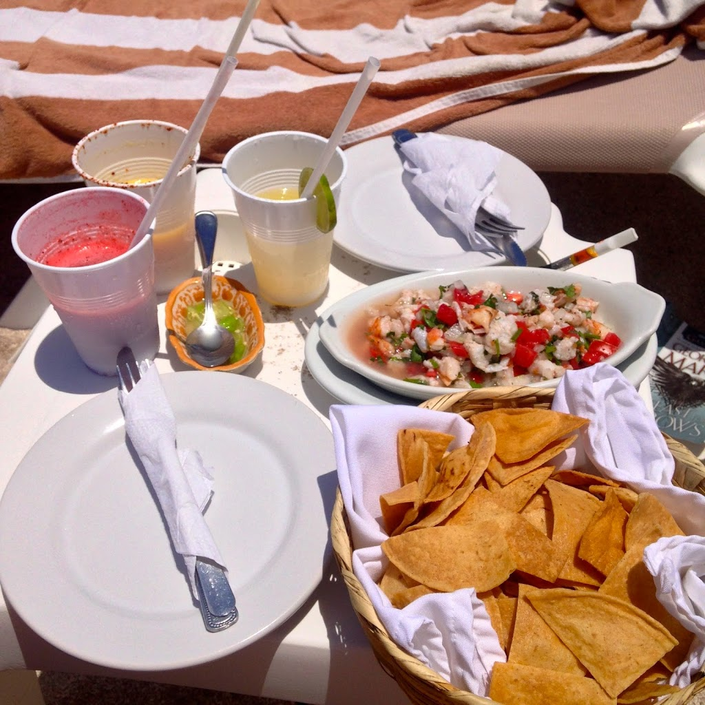 Ceviche, Chips and margaritas on the beach in Akumal, Tulum, Mexico