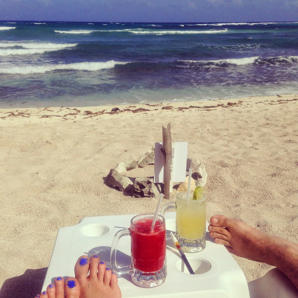 Sipping margaritas Chillin on the beach in Tulum, Mexico
