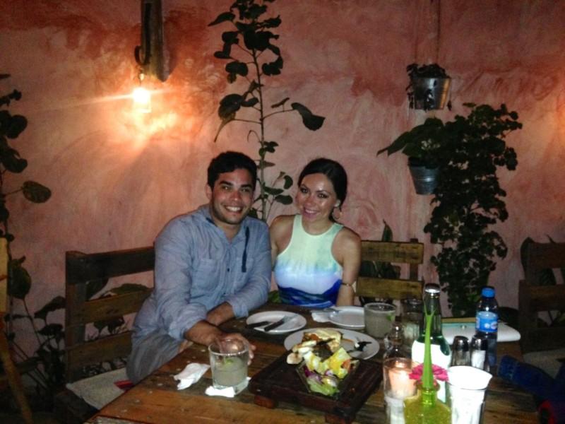 Nihan Gorkem and boyfriend at a restaurant in Tulum Mexico