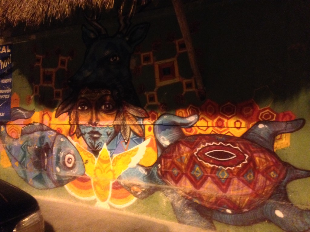 Turtle mural in downtown Tulum Mexico