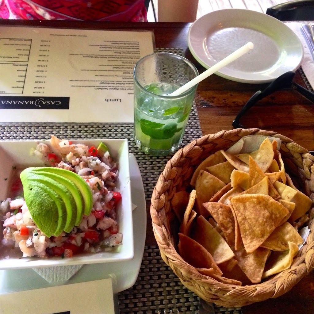 The best Ceviche ever and margaritas at Casa Banana in Tulum Mexico