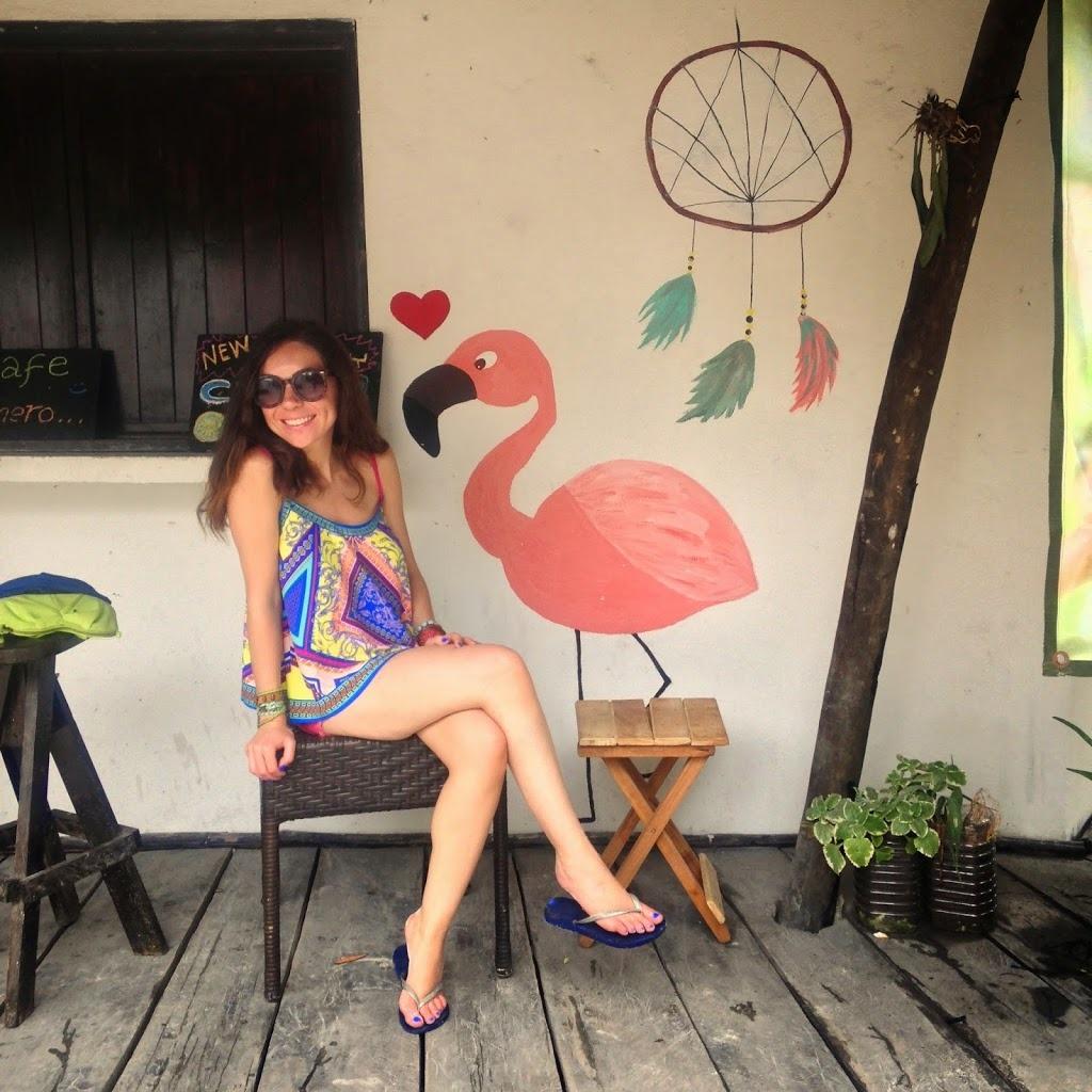A cute ice cream shop in Tulum, Mexico. Love the flamingo mural!