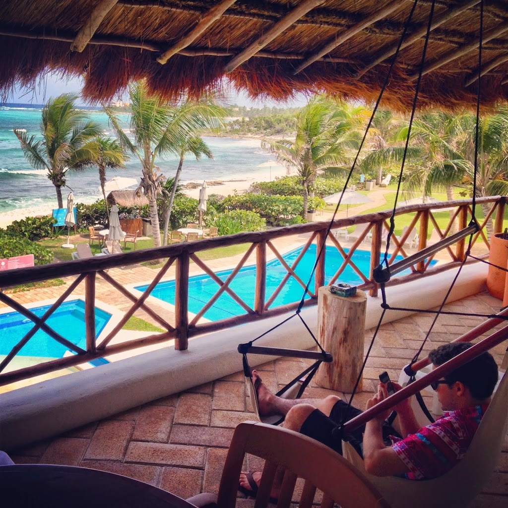 In the balcony of our villa in Tulum, Mexico - Gorgeous Beach and Turquoise Waters of Caribbean Sea