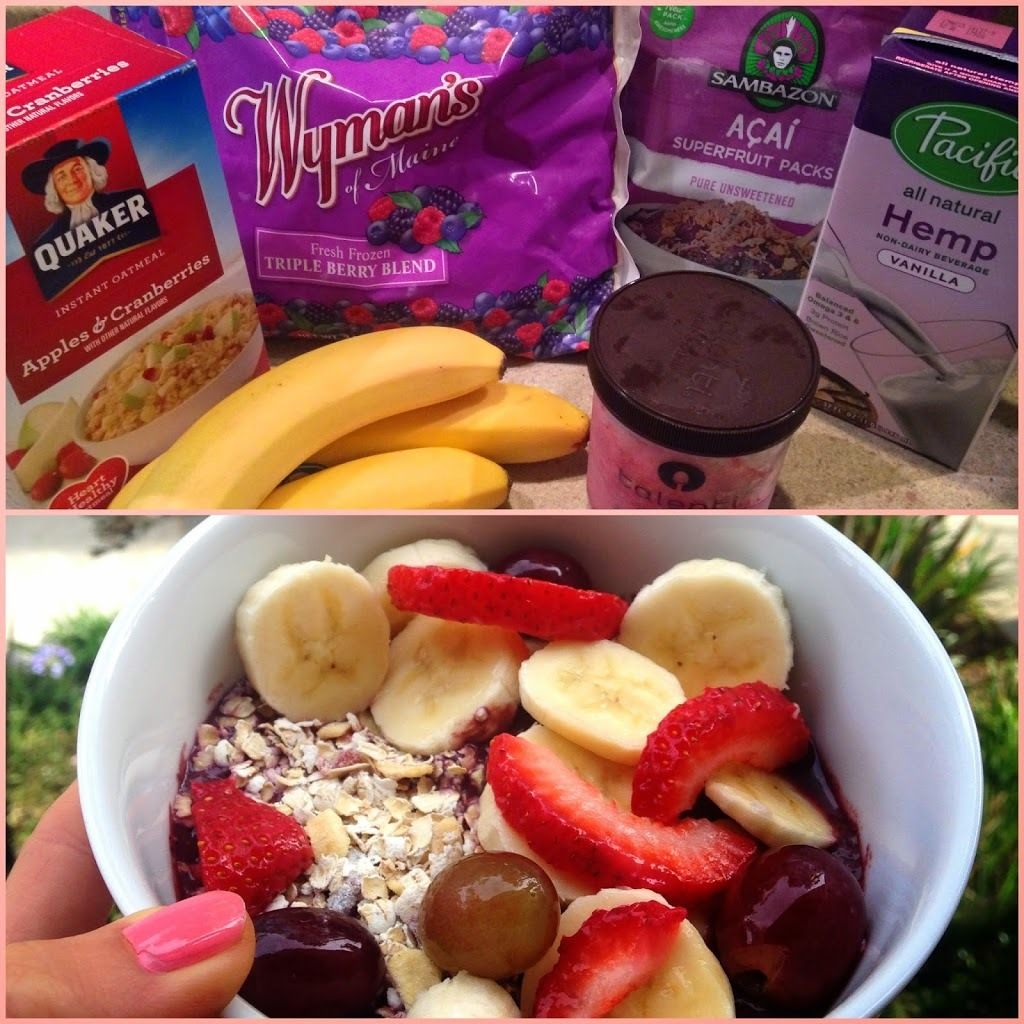 Home made Acai bowl and ingredients