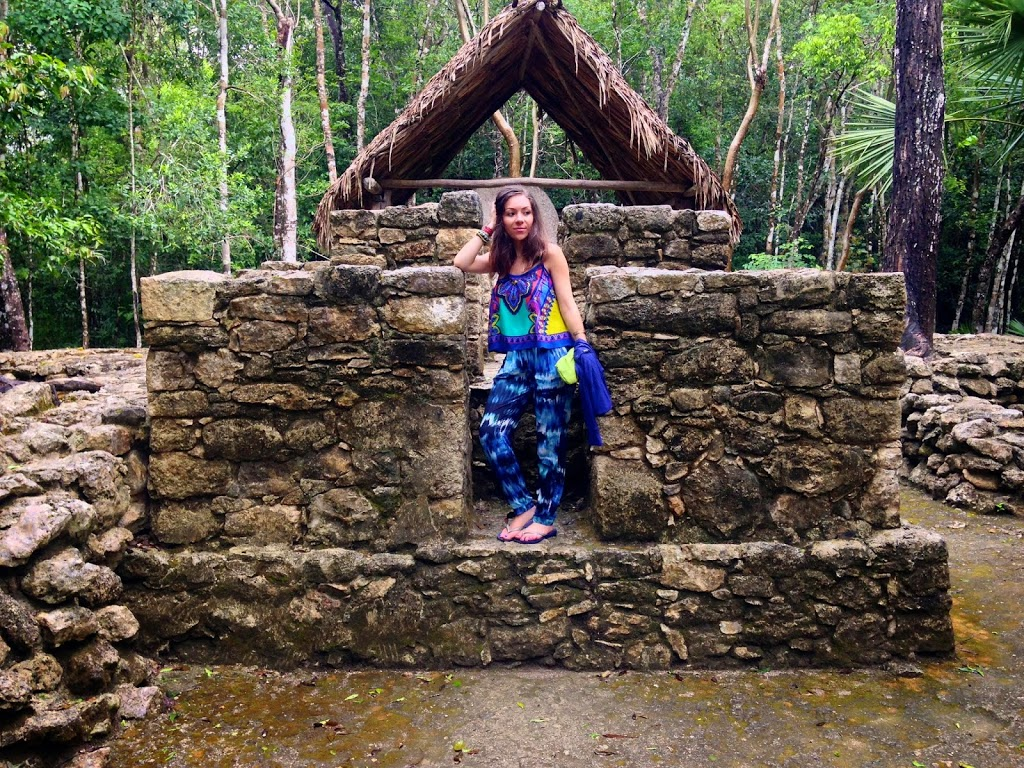 wearing harem pants in Coba Ruins Mexico