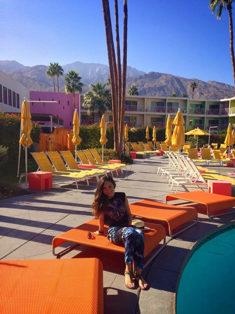 Wearing harem pants in Saguaro Palm Springs