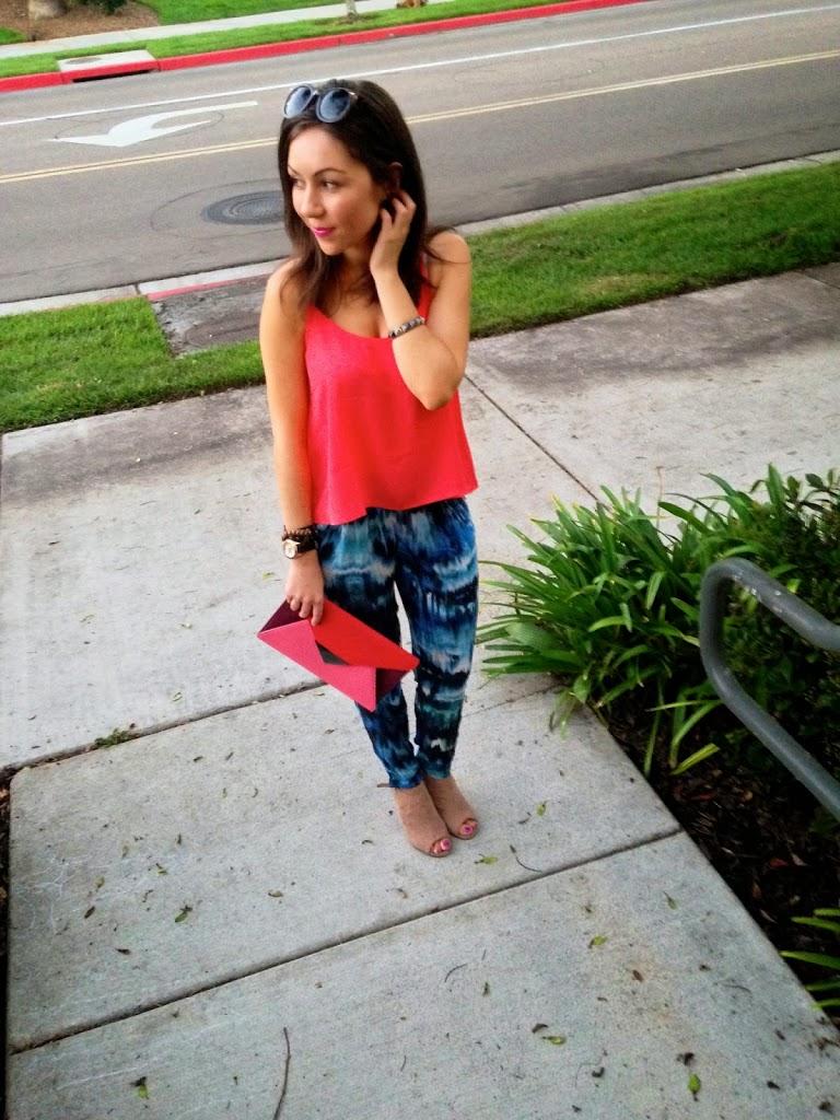H&M Harem pants and clutch