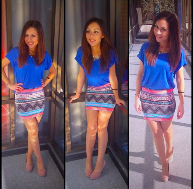 Monday Blues Work Outfit Printed Mini Skirt