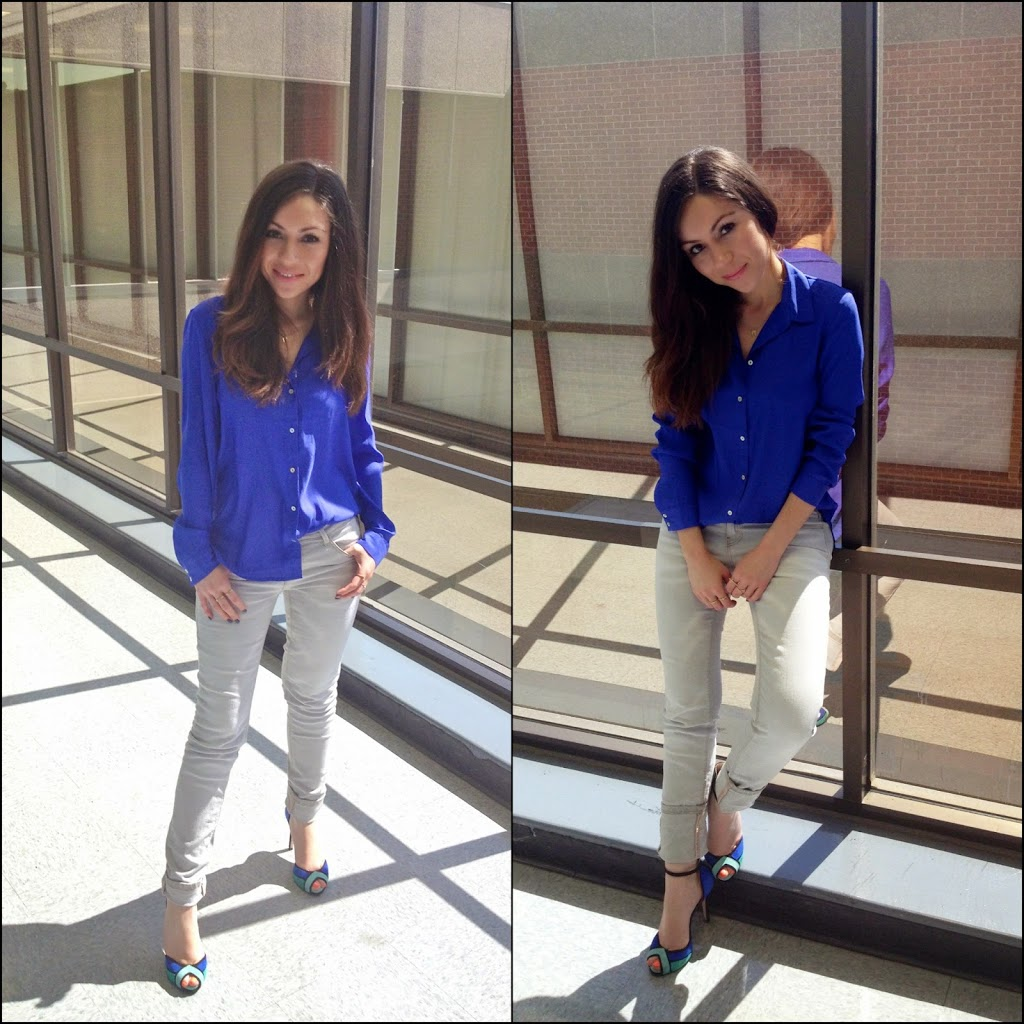Color-block high heels and jeans for work