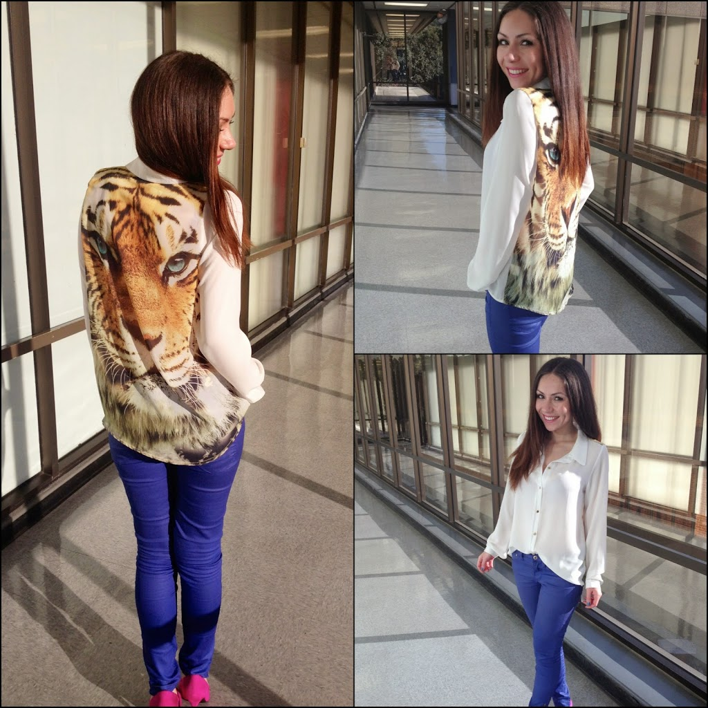 How to style a tiger print blouse to work