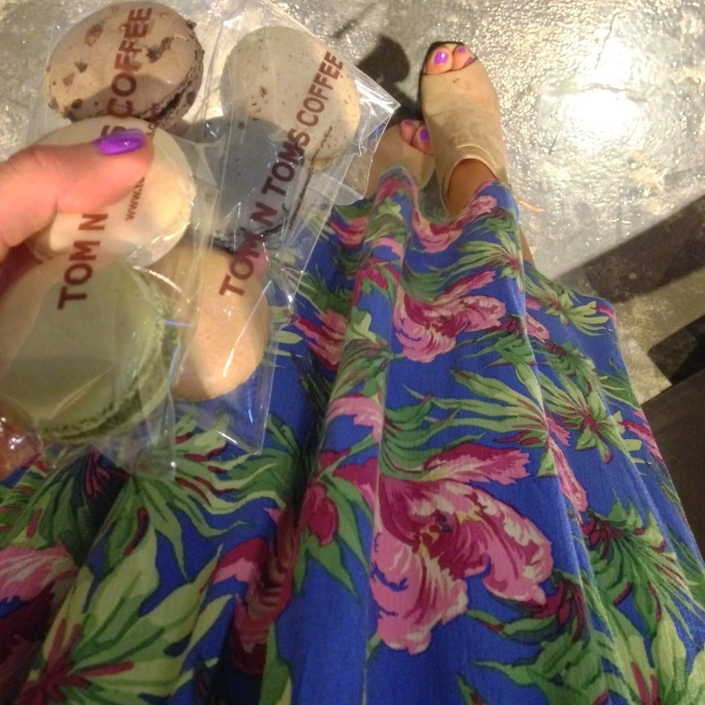 Macaroons from Tom Toms and floral skirt