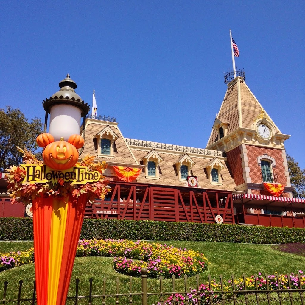 Entrance of Disneyland with decorations during Disneyland Halloween Time