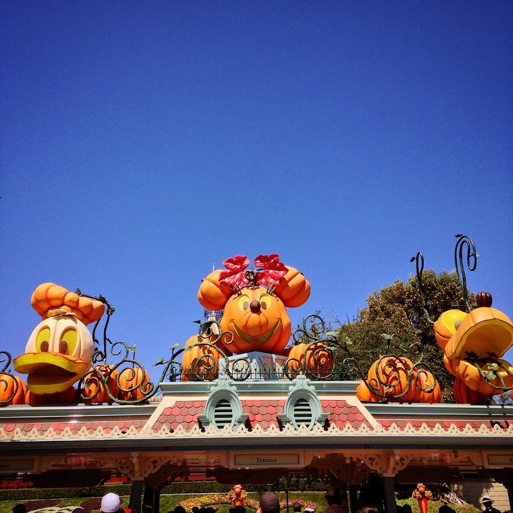 entrance of disneyland with decorations during halloween