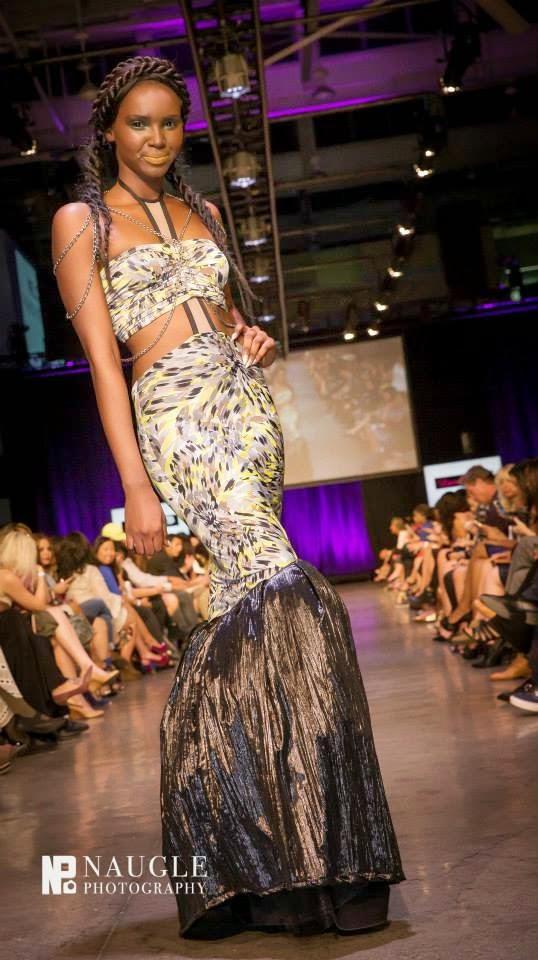 Model wearing a tailed mermaid dress during Fashion Week San Diego 2014 Night 3