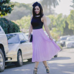 Style with Nihan wearing romantic pink maxi skirt black top and black Topshop high heels
