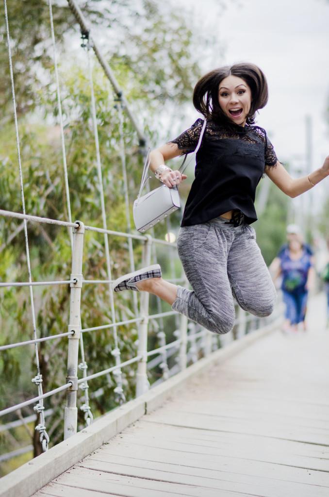 Nihan Jumping on Suspension Bridge San Diego looking funny