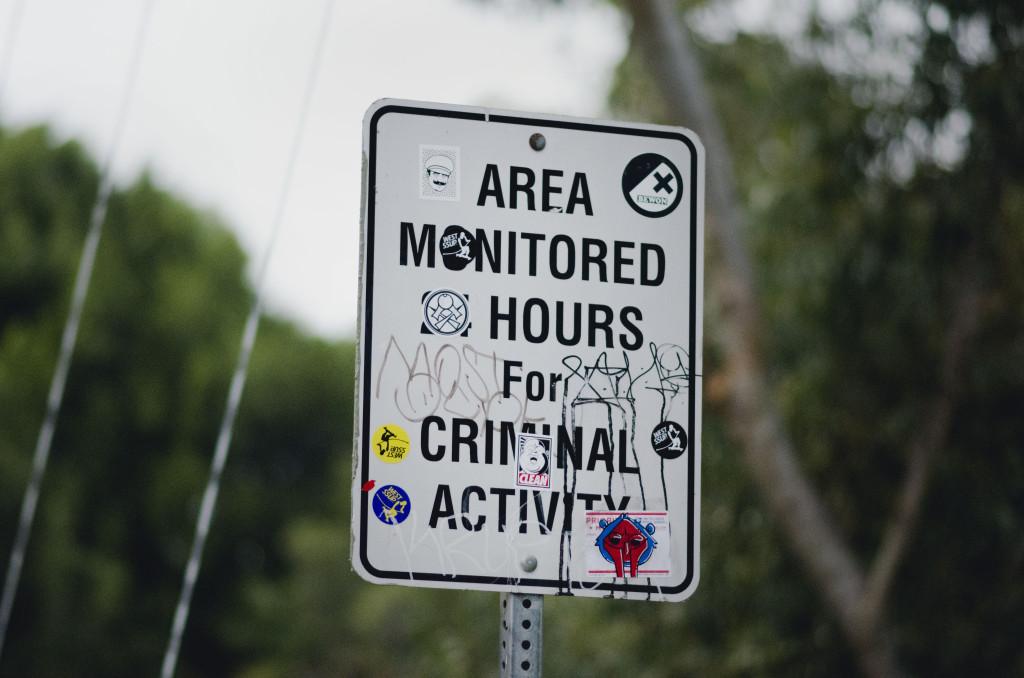 Criminal Activity Signs Suspension Bridge San Diego