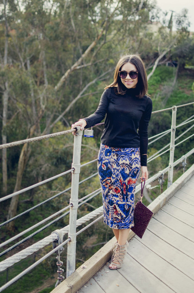 Nihan wearing Blue Animal Printed Topshop Skirt and Chinese Laundry High Heels
