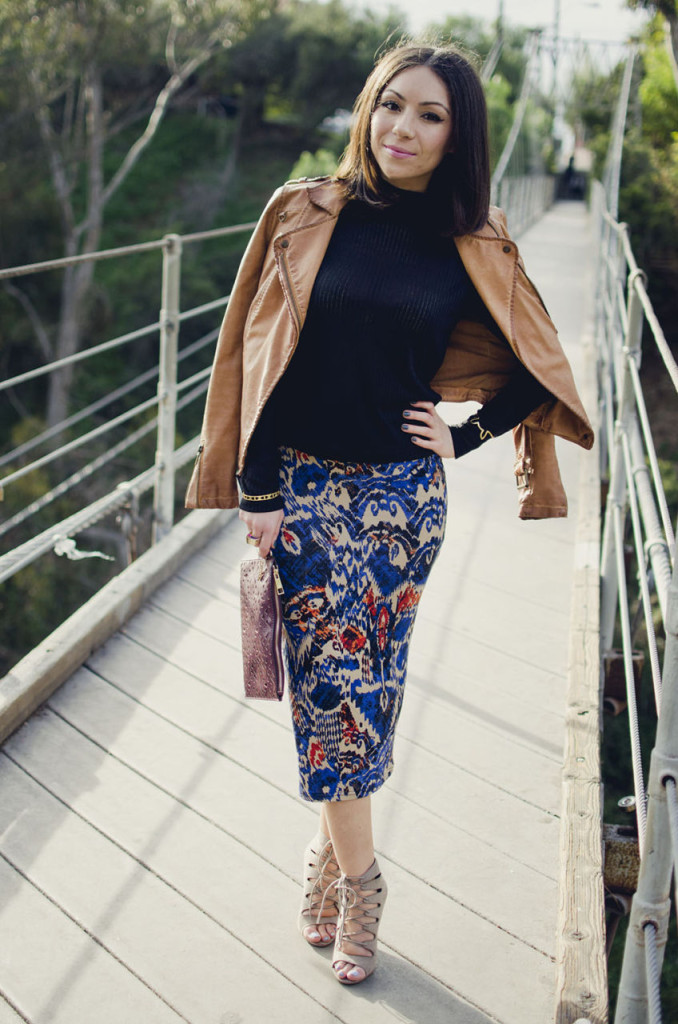 Nihan wearing Blue Animal Printed Topshop Skirt, tan leather Zara jacket and nude Chinese Laundry High Heels