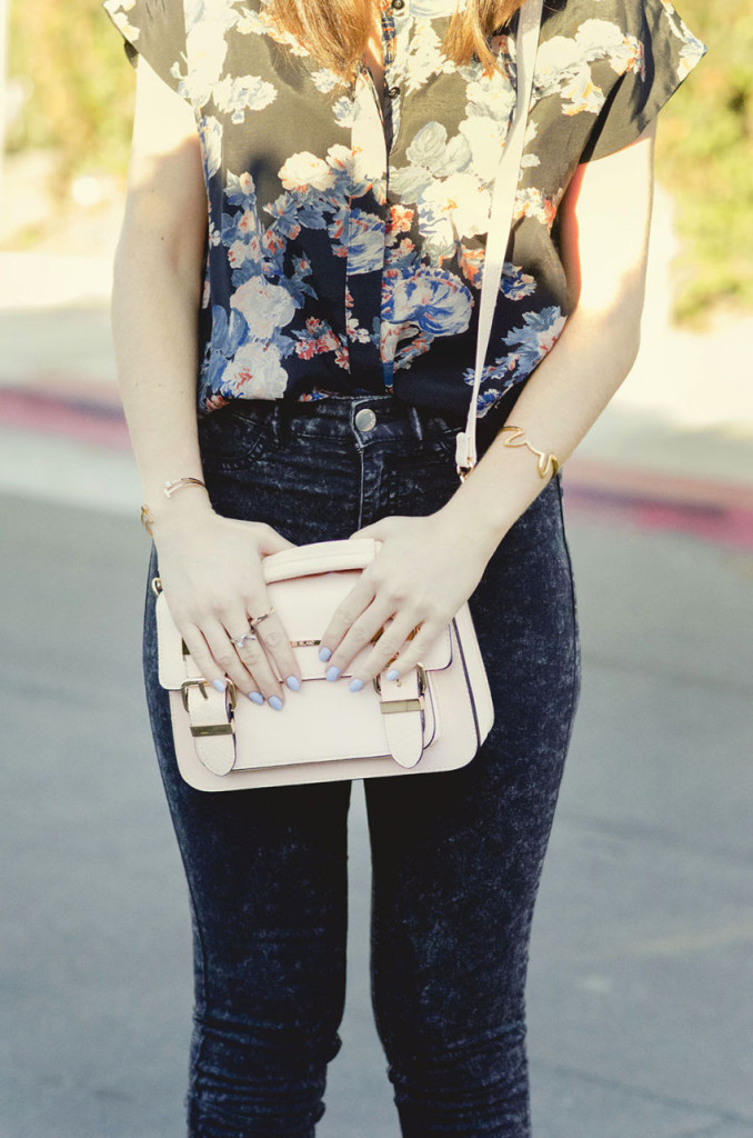 Peach Color Structured Purse from River Island and Black Floral Asos Button down