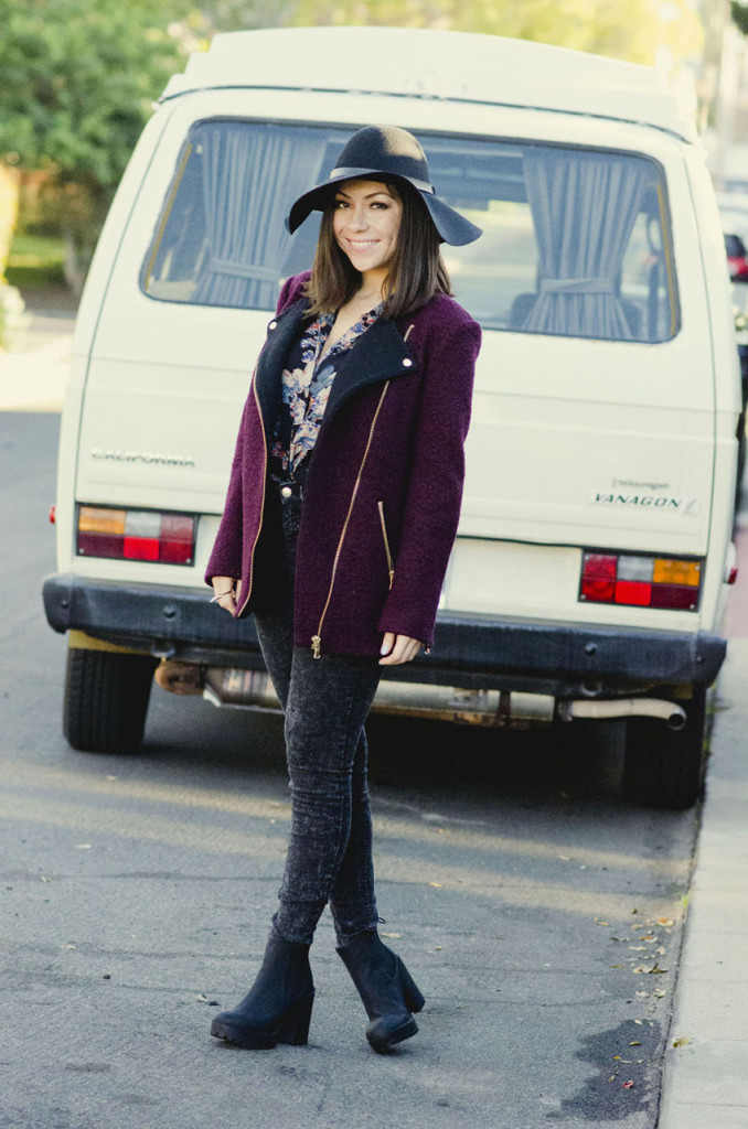 Nihan wearing ASOS floral shirt, H&M floppy hat, jeans, boots, River Island structured bag and Maroon jacket