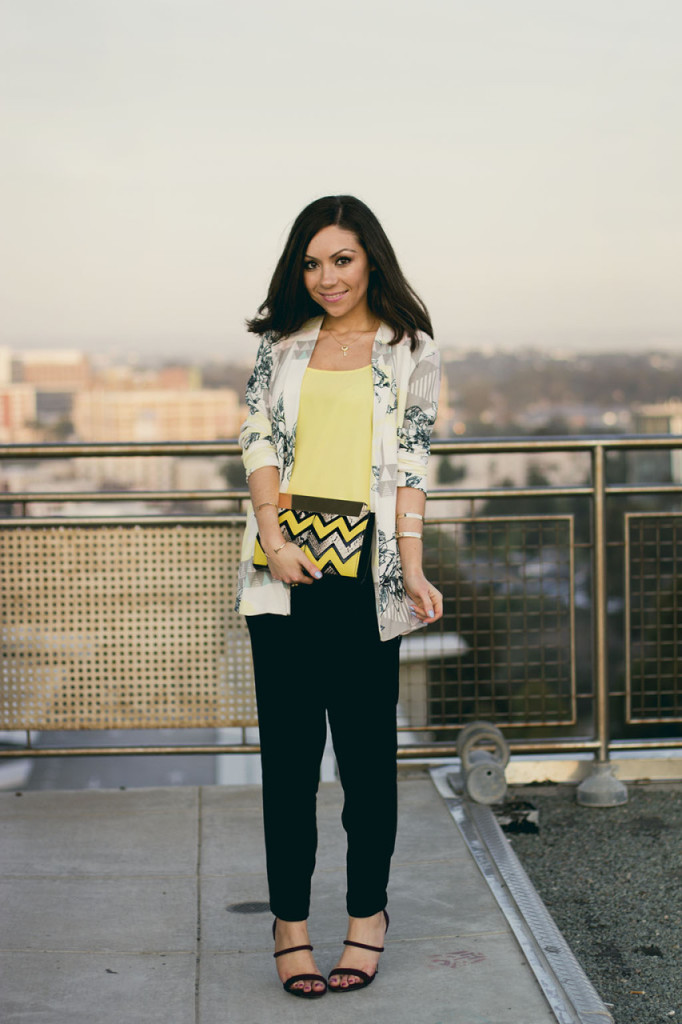 Blogger and stylist Nihan Gorkem wearing Asos geometric print blazer, yellow tank top, Topshop trousers and Forever 21 high heels