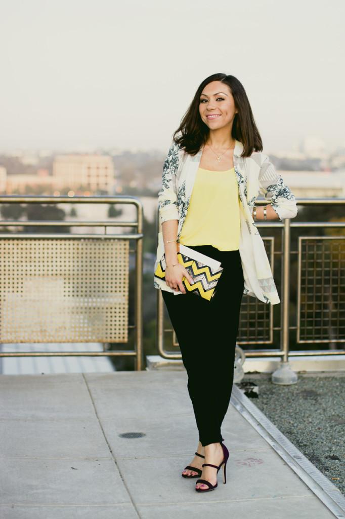 Blogger Nihan wearing Asos geometric print blazer, yellow tank top, Topshop trousers and Forever 21 high heels