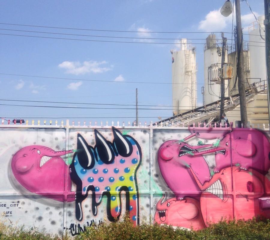 Pink monsters mural in Wynwood Walls, Miami
