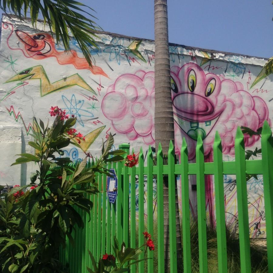 Kenny Scharf's fun cartoonish characters in Wynwood Walls Miami