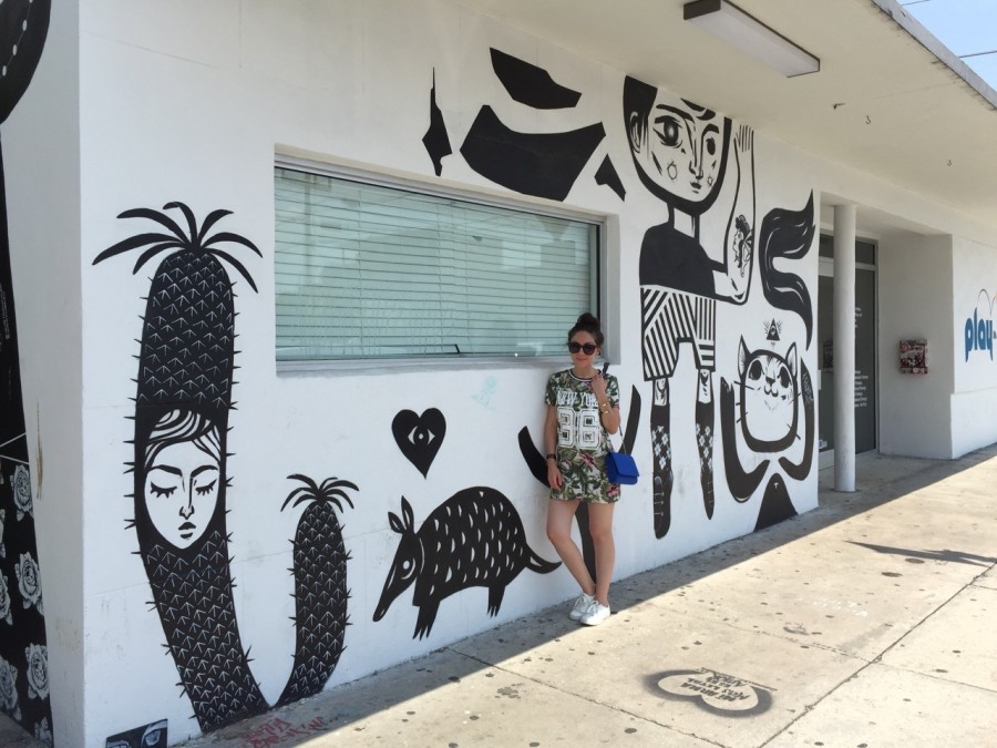Black and white cartoon mural in Wynwood Walls, Miami