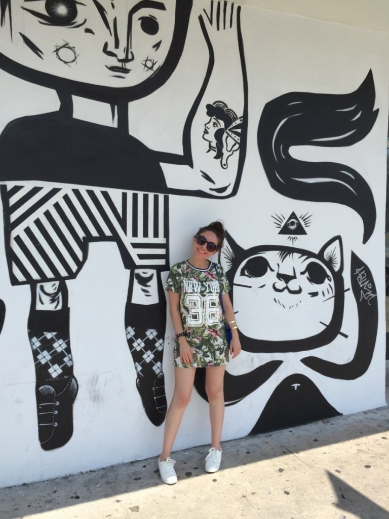 Black and white boy and cat mural in Wynwood Walls, Miami