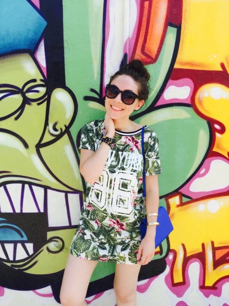 Cute colorful graffiti in Wynwood Walls, Miami