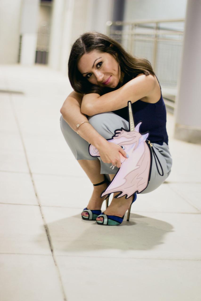 Nihan wearing topshop blue culottes, unicorn purse from asos, zara colorblock high-heels