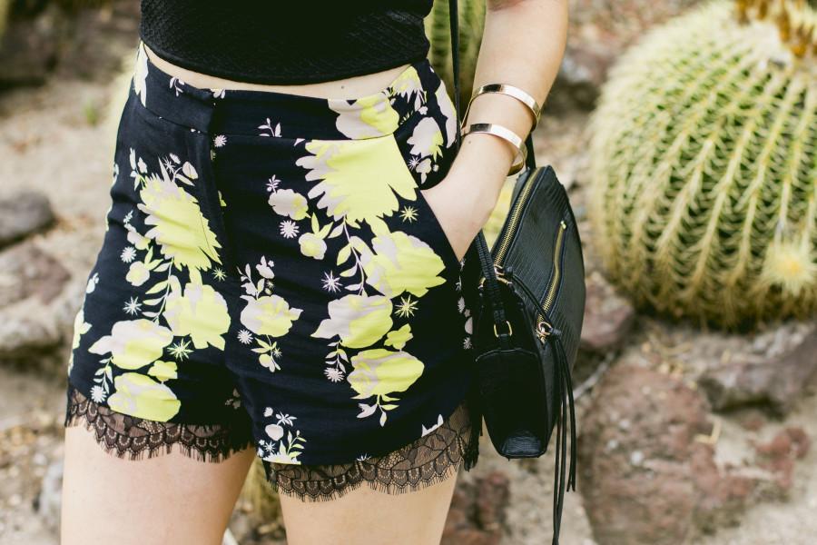 Topshop floral lace shorts