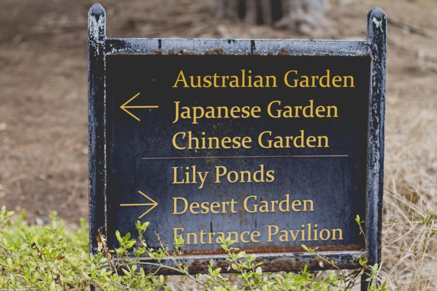 Garden signs at Huntington Library & Gardens
