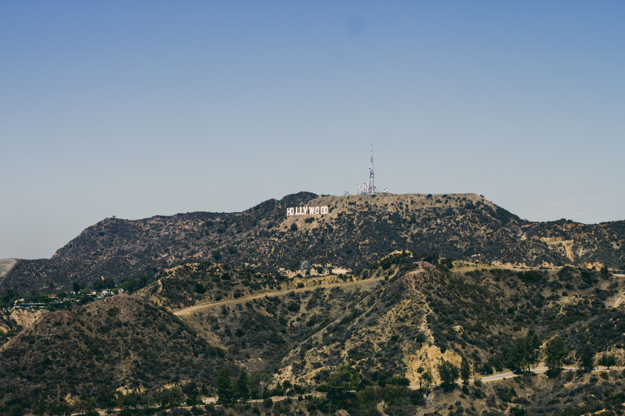 View of Hollywood sign from Griffith Observatory in Los Angeles