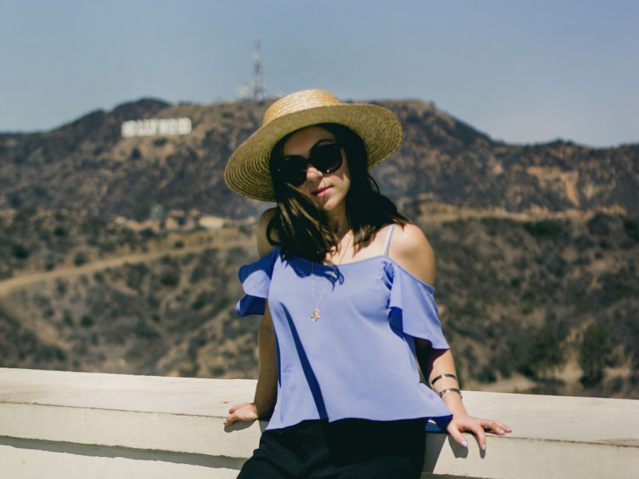 Nihan wearing Topshop cold shoulder top and Lack of Color Spencer Fedora at Griffith Observatory in Los Angeles