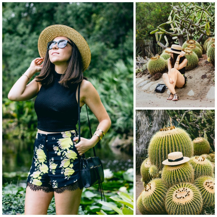 Nihan wearing floral print shorts from Topshop and Lack of Color Spencer Fedora Hat
