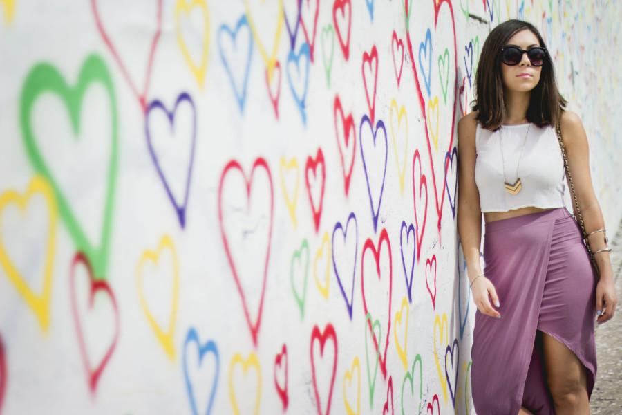Draped Asymmetric Skirt in Heart wall in Los Feliz, Los Angeles