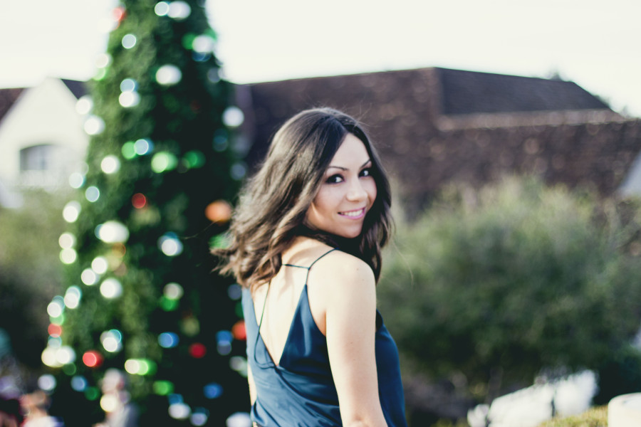 Holiday party outfit Topshop green chic top