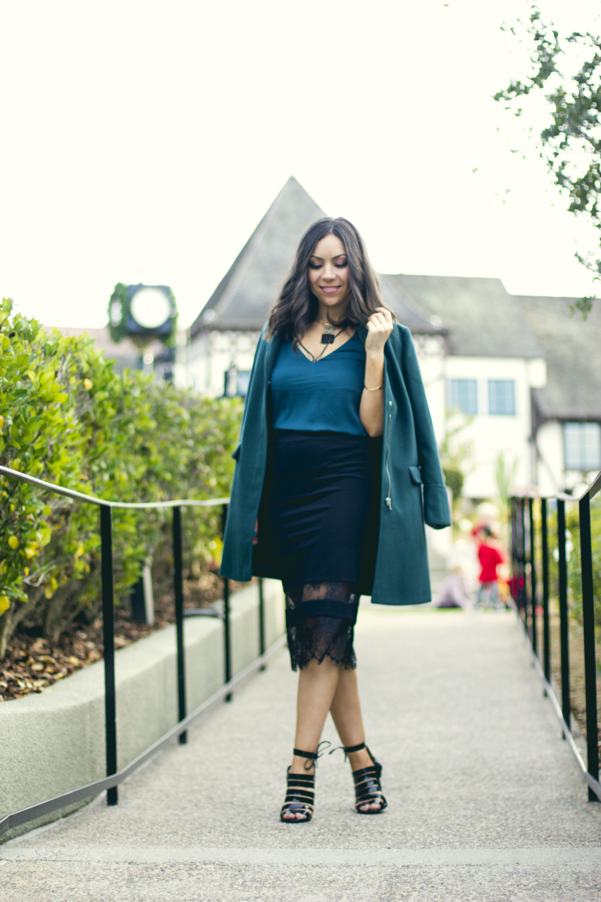 Holiday party outfit Topshop green coat, Topshop lace skirt, Topshop cami top and Topshop high-heels