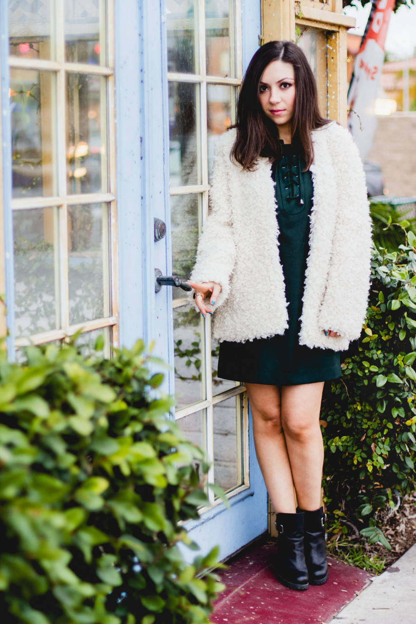 H&M Faux fur Jacket and Just Fab Boots