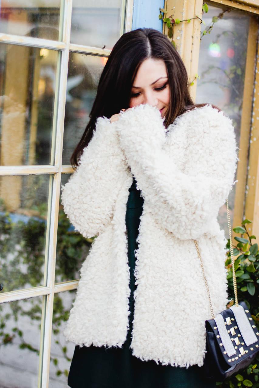 White Faux fur jacket coat