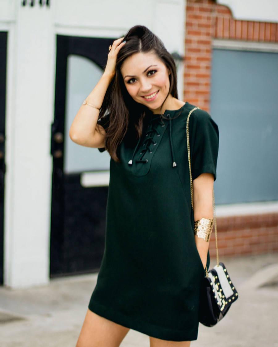 Topshop green mini shirtdress
