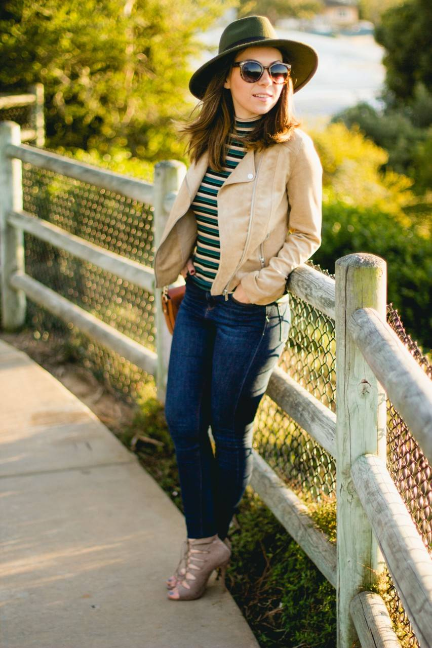 Striped turtleneck and wool felt hat