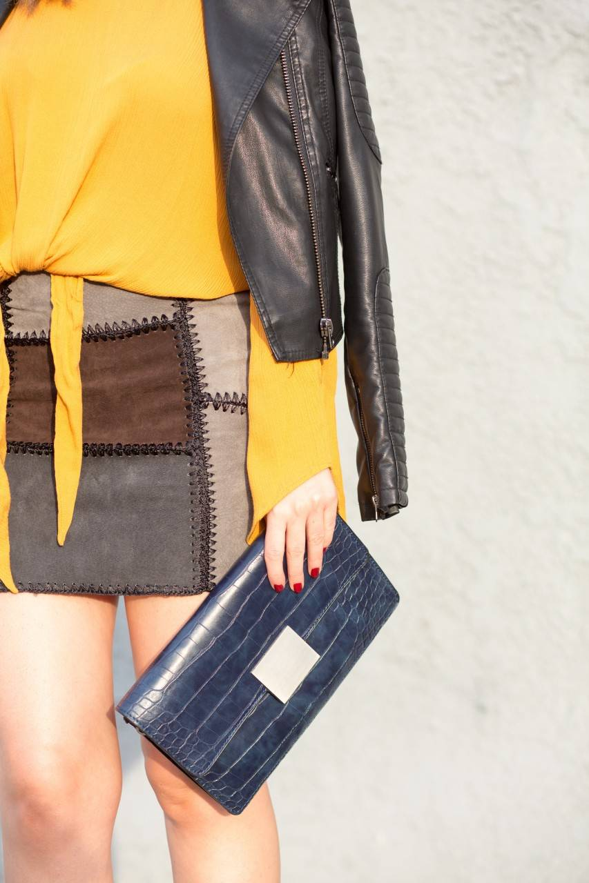 Zara clutch and leather patchwork skirt