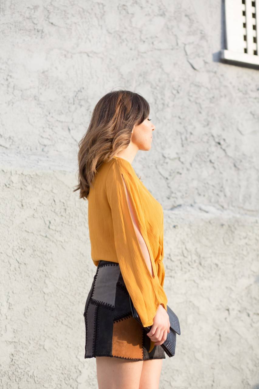 Zara shades of brown leather patchwork skirt and mustard chic top